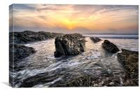 Croyde Bay sea mist sunset sunset, Canvas Print