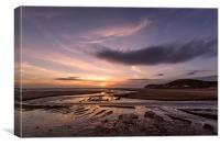 Croyde stream sunset, Canvas Print