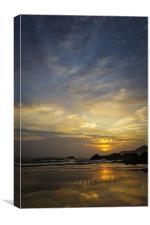 Combesgate Beach sunset Woolacombe Bay., Canvas Print
