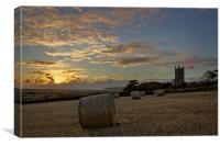 Church bales sunset, Canvas Print