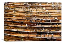 Old Wooden Rowing Boats Moored