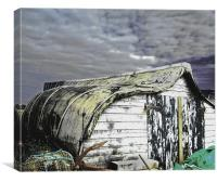 Lindisfarne boat shed, Canvas Print