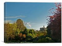 Warkworth Castle from the village, Canvas Print