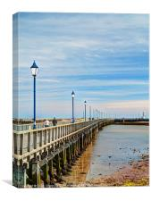 Amble pier and lighthouse, Canvas Print