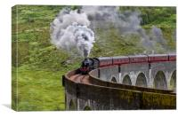 Steam Train Crossing the Glenfinnan Viaduct, Canvas Print