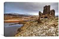 Ardvreck Castle in The Snow, Canvas Print