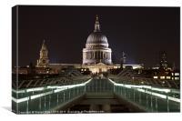 Millenium Bridge at Night, Canvas Print