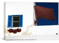 Whitewashed Seaside Building, Canvas Print