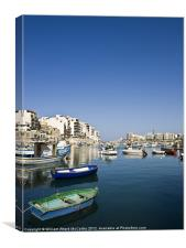 St Julians Bay or Balluta, Canvas Print