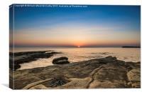 Sunrise over Selmun, Canvas Print