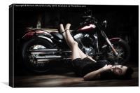 Harley Pin Up Girl, Canvas Print