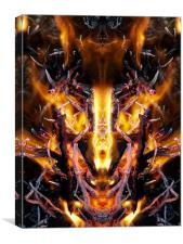 Fire Demon Face, Canvas Print