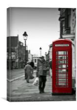Red telephone box on a Black and white background, Canvas Print