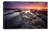 Sunset on Widemouth Bay, Canvas Print