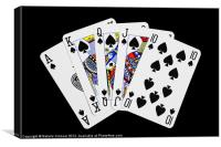 Playing Cards, Royal Flush on Black Background, Canvas Print