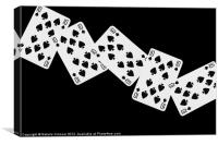 Playing Cards, Ten of Spades on Black Background, Canvas Print