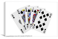 Playing Cards, Royal Flush on White Background, Canvas Print