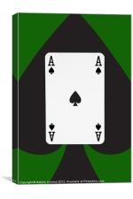 Ace of Spades on Green, Canvas Print