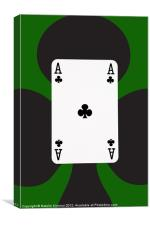 Ace of Clubs on Green, Canvas Print
