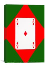 Ace of Diamonds on Green, Canvas Print