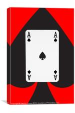 Ace of Spades on Red, Canvas Print