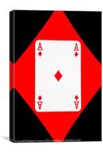 Ace of Diamonds on Black, Canvas Print