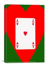 Ace of Hearts on Green, Canvas Print