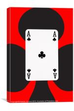 Ace of Clubs on Red, Canvas Print