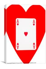 Playing Cards, Ace of Hearts on White, Canvas Print