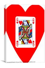Playing Cards - Queen of Hearts, Canvas Print
