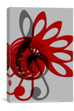 Music Treble Clef Abstract in Grey Red and Black, Canvas Print