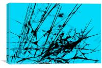 Strike Out Turquoise and Black Abstract, Canvas Print