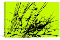 Strike Out Lime Green and Black Abstract, Canvas Print
