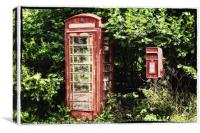 Old Red Telephone Box Old Red Letter Box, Canvas Print