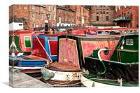 Narrow Boats Birmingham, Canvas Print