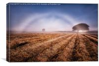 Rare natural white fog rainbow, Canvas Print