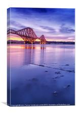Forth Rail Bridge colour sunrise, Canvas Print