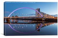 The Clyde Arc at Dusk Glasgow, Canvas Print