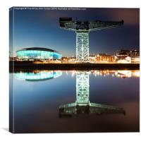 The Finnieston Crane and Hydro, Green, Canvas Print