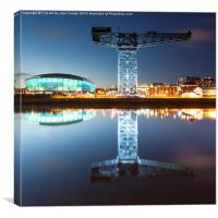 The Finnieston Crane and Hydro light blue, Canvas Print