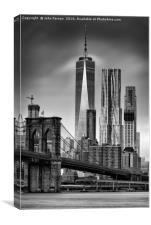 Freedom Tower and the Brooklyn Bridge, Canvas Print