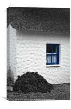 Irish Cottage with Blue Window, Canvas Print