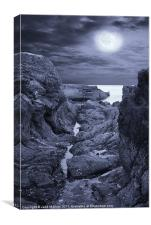 Moonlight over Rugged Seaside Rocks, Canvas Print