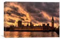 Houses of Parliament on Fire, Canvas Print
