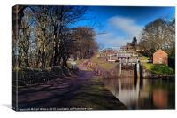 Bingley Five Rise Locks, Canvas Print