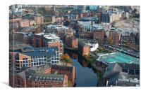 Leeds aerial water scene, Canvas Print