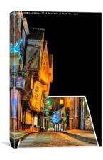 York Shambles at Christmas 3D, Canvas Print