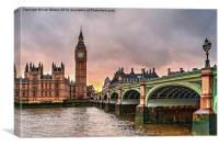 Big Ben Over The River Thames At Sunset, Canvas Print