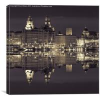 The Three Graces Liverpool Mono , Canvas Print