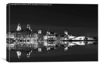 Liverpool reflections B&W, Canvas Print